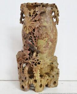 Carved Antique Chinese Soapstone Sculpture Vase Pot Birds Flowers