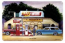 Gas For Less Station Jack Schmitt Retro Automotive Classic Metal Sign