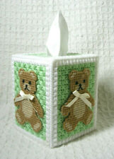 Teddy Bear Handmade Plastic Canvas Tissue Topper Baby Nursery Completed