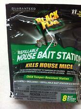 GENUINE Black Flag Refillable Mouse Bait Station With 8 Bait Blocks