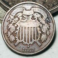 1868 Two Cent Piece 2C Higher Grade Civil War Good Date US Copper Coin CC5660