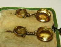 EXQUISITE, ANTIQUE GEORGIAN, 9 CT GOLD EARRINGS WITH 14.0 CT CITRINE GEMS