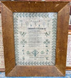"""Fine Needlework Sampler """"Mary Ann Lock 1843"""" With Great Painted Original Frame"""