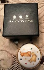 Halcyon Days Puppies and Stars Hand Painted Round Enamel Box