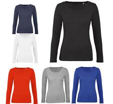 Manches Longues Femmes T-Shirt à Bio Coton Col Rond