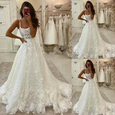 Appliques Wedding Dresses Lace Beach Boho Bridal Gowns A-Line Train Square Neck