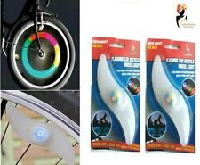 2 x LED FLASHING BICYCLE SPOKE LIGHT Bike Wheel Wire Winter Flash Lamp PM619014