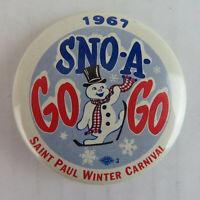 1967 St. Paul Winter Carnival Vintage Pinback Button - Minnesota Snowman