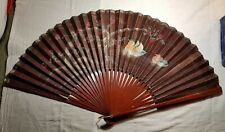 Antique Hand Fan with Bird & Floral Design Inside Handpainted Flowers Wooden Box