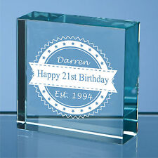 Personalised Engraved Glass Block Birthday Gift, 80th 90th 100th birthday gift