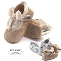 Newborn Baby Girl Soft Sole Sequin Crib Shoes Anti-slip Sneaker Prewalker 9-18M