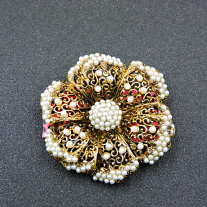 New Gold Bling Pearl Flower Betsey Johnson Charm Brooch Pin Gift