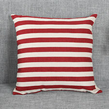 Red and white striped cotton canvas cushion cover. nautical, neutral, seaside