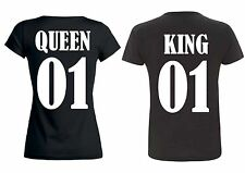 V-Ausschnitt T-Shirt KING & QUEEN f.Pärchen *PARTNER COUPLE LIEBE LOVE HOCHZEIT*