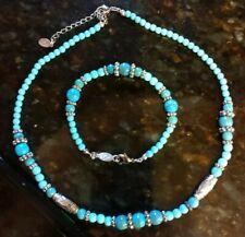 Choker necklace & bracelet - Light Blue set - signed