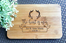 """Mini Personalised """"The Hunt Is Over"""" Bamboo Serving / Cheese Board-Wedding Gift"""