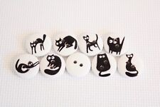 10 pcs Mixed Black Cat Round Wood Buttons Clothing Sewing Scrapbookin art. 26