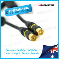 Monster Cable - Premium Gold Coaxial Aerial Cable - 1.0m 3.3ft - Male to Female