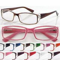 L144 Superb Classic Square Plastic Reading Glasses Spring Hinges Bright Colors
