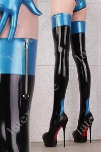 5061 Latex Rubber Gummi Stocking thigh-highs socks customized 0.4mm zipper sexy