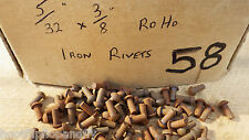 "PACK OF 50  5/32"" x 3/8"" ROUND  HEAD STEEL IRON RIVETS  NOS STEAM  BOX 58"