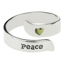 Stamped PEACE Adjustable Wrap Ring 925 Sterling Silver Far Fetched - Gift Boxed