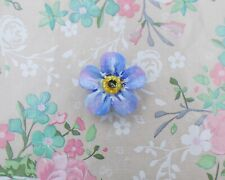 FORGET-ME-NOT BROOCH Blue Flower Friendship Pin Masonic Lapel Pin HAND PAINTED