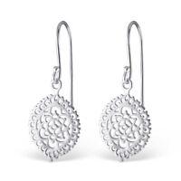 925 Sterling Silver Flower Pattern Drop/Dangle Earrings