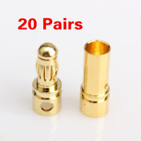 40Pcs 3.5mm Gold-plated Bullet Banana Plug Connector Male Female RC Battery Part