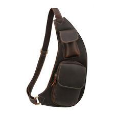 männer Schultertasche Brusttasche Umhängetasche Ledertasche Rucksack schleuder