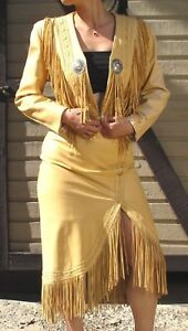 CONTINENTAL FRINGE LEATHER  SUIT - JACKET and SKIRT - SIZE 5/6