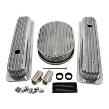 Chevy 350 Short Retro Finned Vortec & TBI Valve Covers Air Cleaner Dress Up Kit