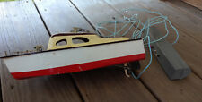 "12"" Old Vtg Battery Operated Remote Controlled Wood Toy Cabin Boat Made In Japan"