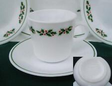CORNING Corelle HOLLY DAYS 8-oz CUP & SAUCER SET  Black Vein Holiday Red Green