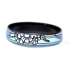 bague anneau émail fleur fresque bleu T 58 bijou ring A3
