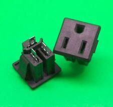 2 Pcs AC 125V 15A Panel Mount Power Socket Connector Black for US Plug