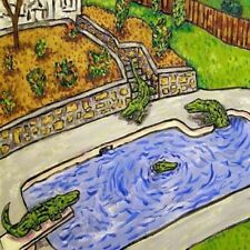 Alligator Pool Party animal reptile art tile coaster  gift schmetz