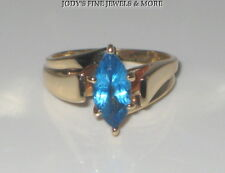 EXQUISITE ESTATE 10K YELLOW GOLD MARQUISE BLUE TOPAZ LADIES RING Size 5.25