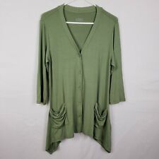 LOGO Lori Goldstein Cardigan Size S Green Button Down Tunic 3/4 Sleeves V Neck
