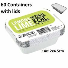 60x Small Foil Food Container Tray and Lid Roasting BBQ Takeaway Oven Trays