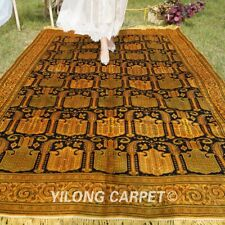 YILONG 6'x9' Antique Hand Knotted All Over Villa Rugs Golden Area Carpet G02B