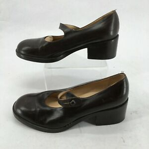 Barneys New York Mary Jane Court Shoes Womens 38.5 Block Heels Leather Brown