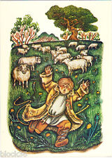 Russian card illustration to L.Tolstoy's Fable LIAR by M.Romadin Boy and sheeps