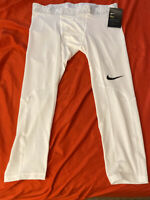 Nike Pro 3/4 Compression Tights Pants white Men's Size XL extra Large 838055 100