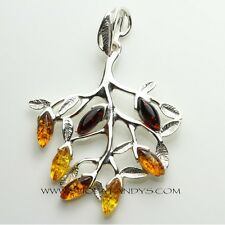 ADORABLE GENUINE BALTIC AMBER 925 STERLING SILVER PENDANT