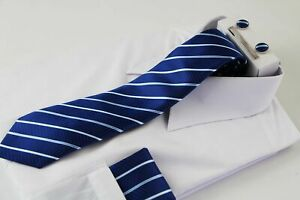 Mens Dark Blue & White Striped Matching Neck Tie, Pocket Square, Cuff Links and