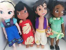Princesa De Disney Store Gran animador Muñecas X 4 Lilo Aladdin Tiana Elsa Congelada