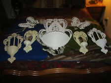 9Pc Vintage Syroco White Wicker Wall Pocket Planter& More Burwood Products