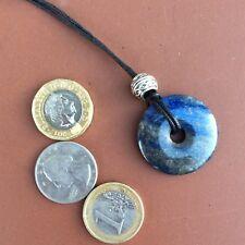 Lapis lazuli Celtic bead donut pendant on cord. Blue Gemstone jewelry Irish gift