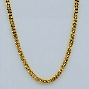 "Italian Chain Solid Pure 18k (750) Yellow Gold Cuban Curb Design 18"" New"